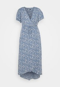 Missguided Plus - PLUS FLORAL V NECK TIE WAIST DRESS - Day dress - blue - 0