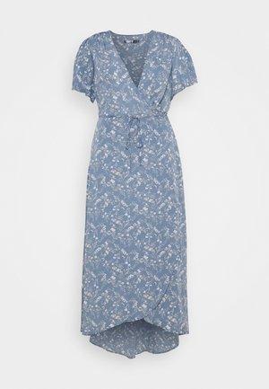 PLUS FLORAL V NECK TIE WAIST DRESS - Kjole - blue