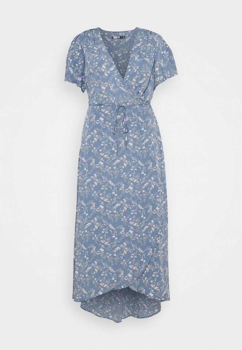 Missguided Plus - PLUS FLORAL V NECK TIE WAIST DRESS - Day dress - blue