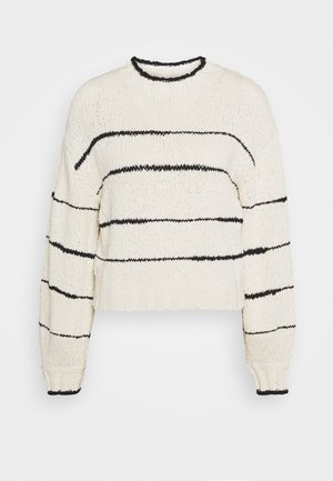 IRREGULAR STRIPE - Pullover - cream/black