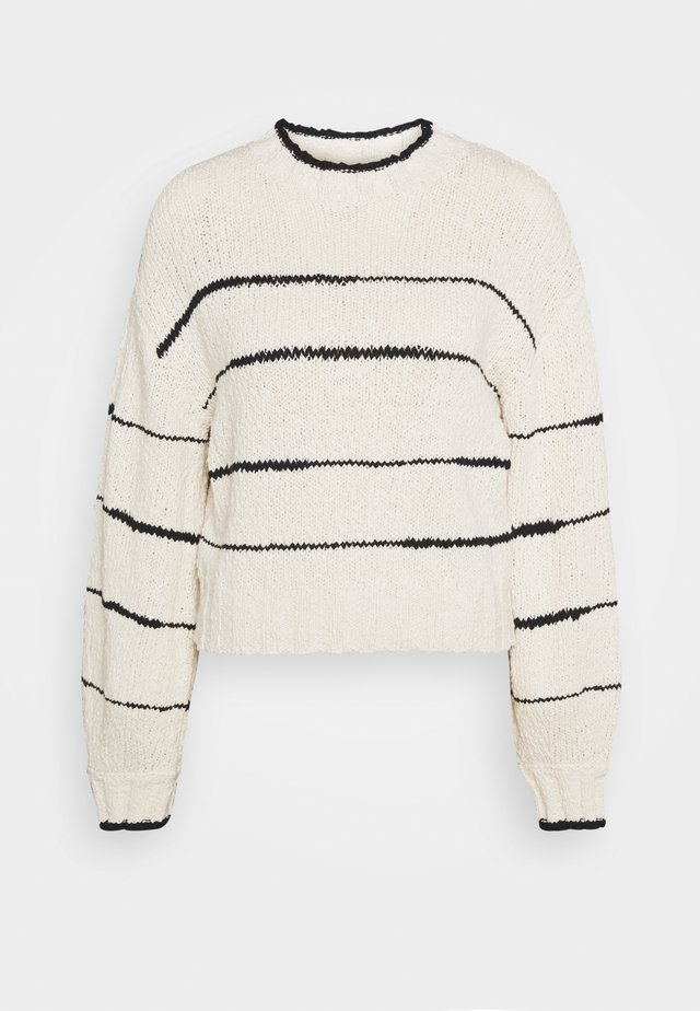 IRREGULAR STRIPE - Jumper - cream/black
