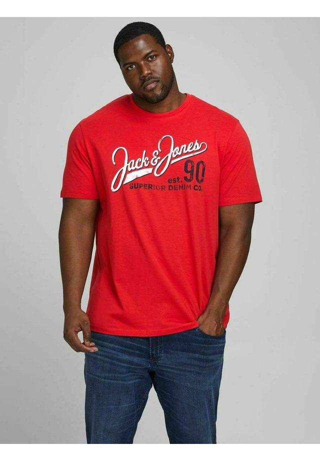 JJELOGO TEE O NECK - T-shirt z nadrukiem - true red