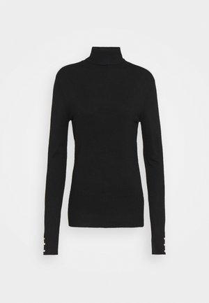 PEARL BUTTON CUFF ROLL NECK - Pullover - black