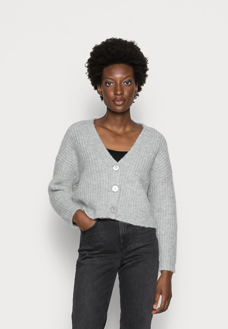 Zign - WOOL BLEND JUMPER - Cardigan - mottled grey