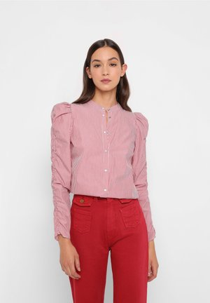 Button-down blouse - red stripes