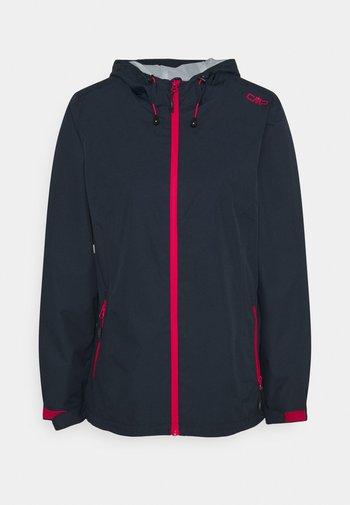 WOMAN RAIN JACKET FIX HOOD - Waterproof jacket - black blue