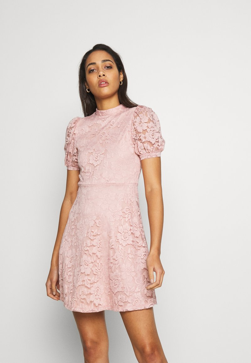 Vila - VILILJA PUFF SLEEVE LACE DRESS - Sukienka koktajlowa - pale mauve