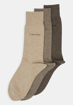 MEN CREW COMBED FLAT ERIC 3 PACK - Socks - taupe