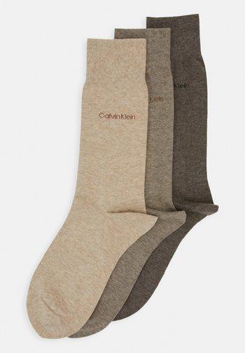 MEN CREW COMBED FLAT ERIC 3 PACK - Socks - taupe