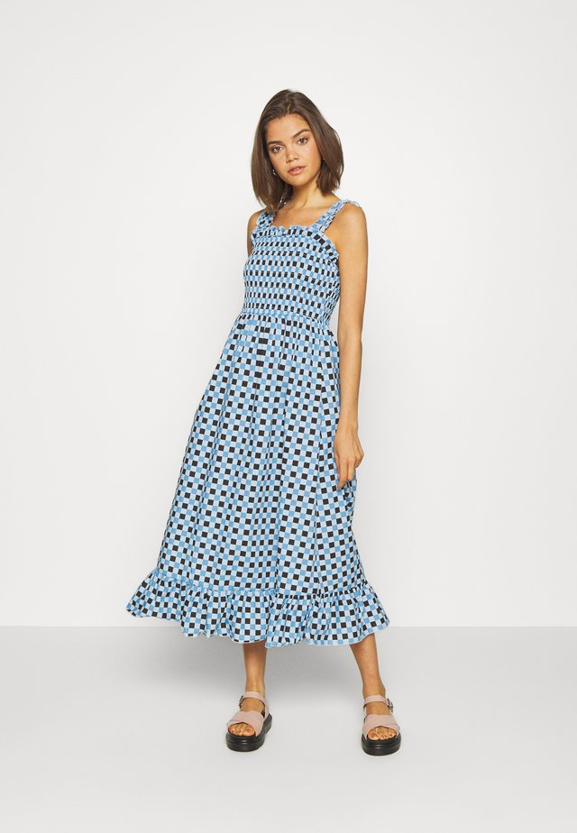 EMILIE MALOU SMOCKED MIDI DRESS - Day dress - blue