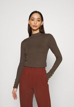 JDYPLUM CUFF BUTTON - Jumper - chocolate brown