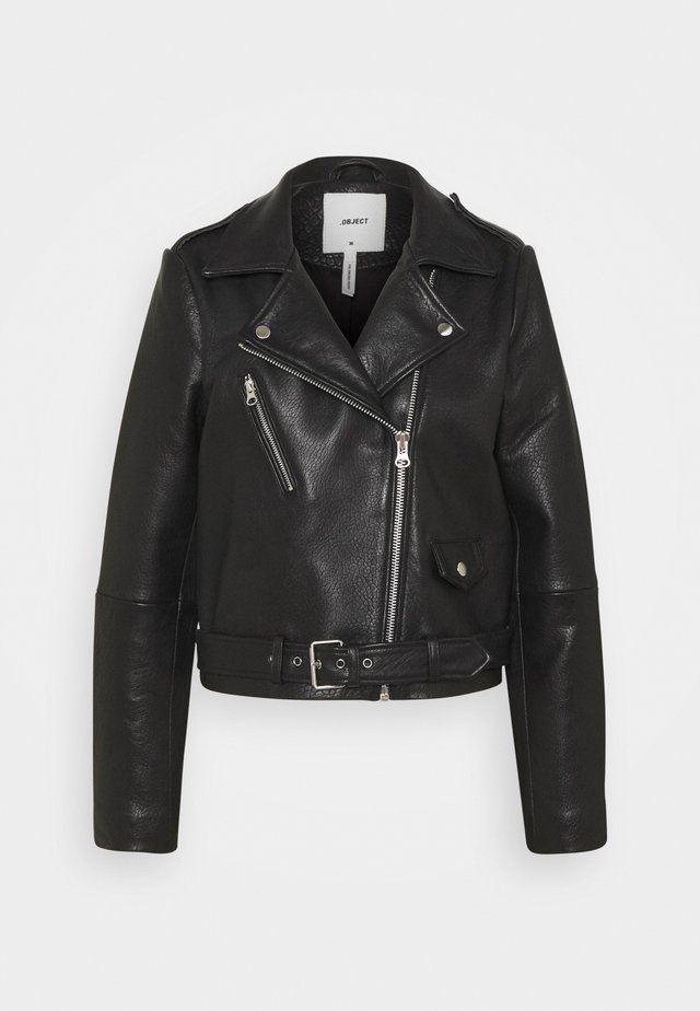 OBJMONIQUE JACKET - Leather jacket - black