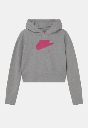 AIR CROP HOODIE  - Mikina s kapucí - carbon heather/fireberry