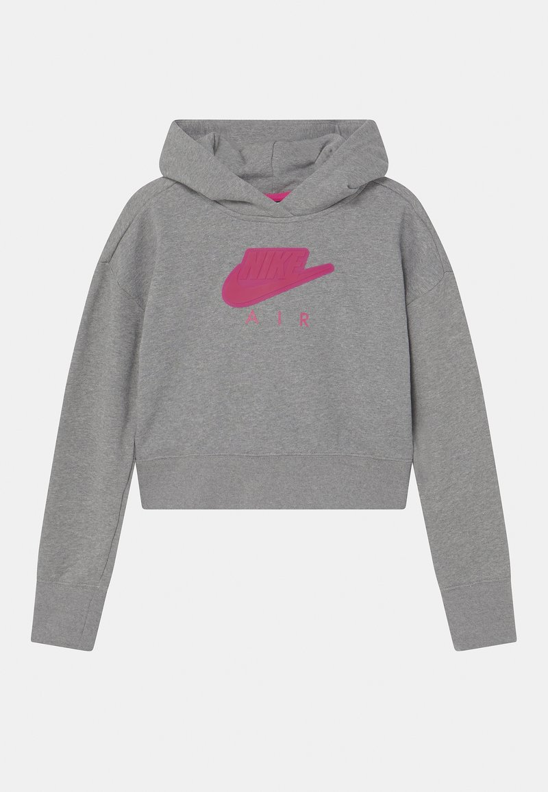 Nike Sportswear - AIR CROP HOODIE  - Jersey con capucha - carbon heather/fireberry