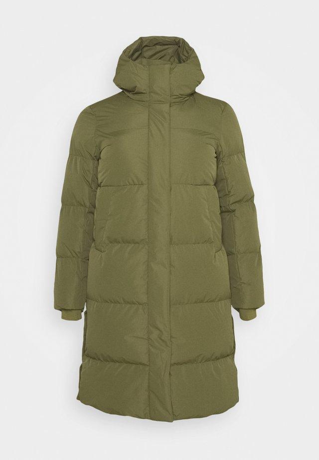 LONG PADDED DUVET COAT - Classic coat - khaki