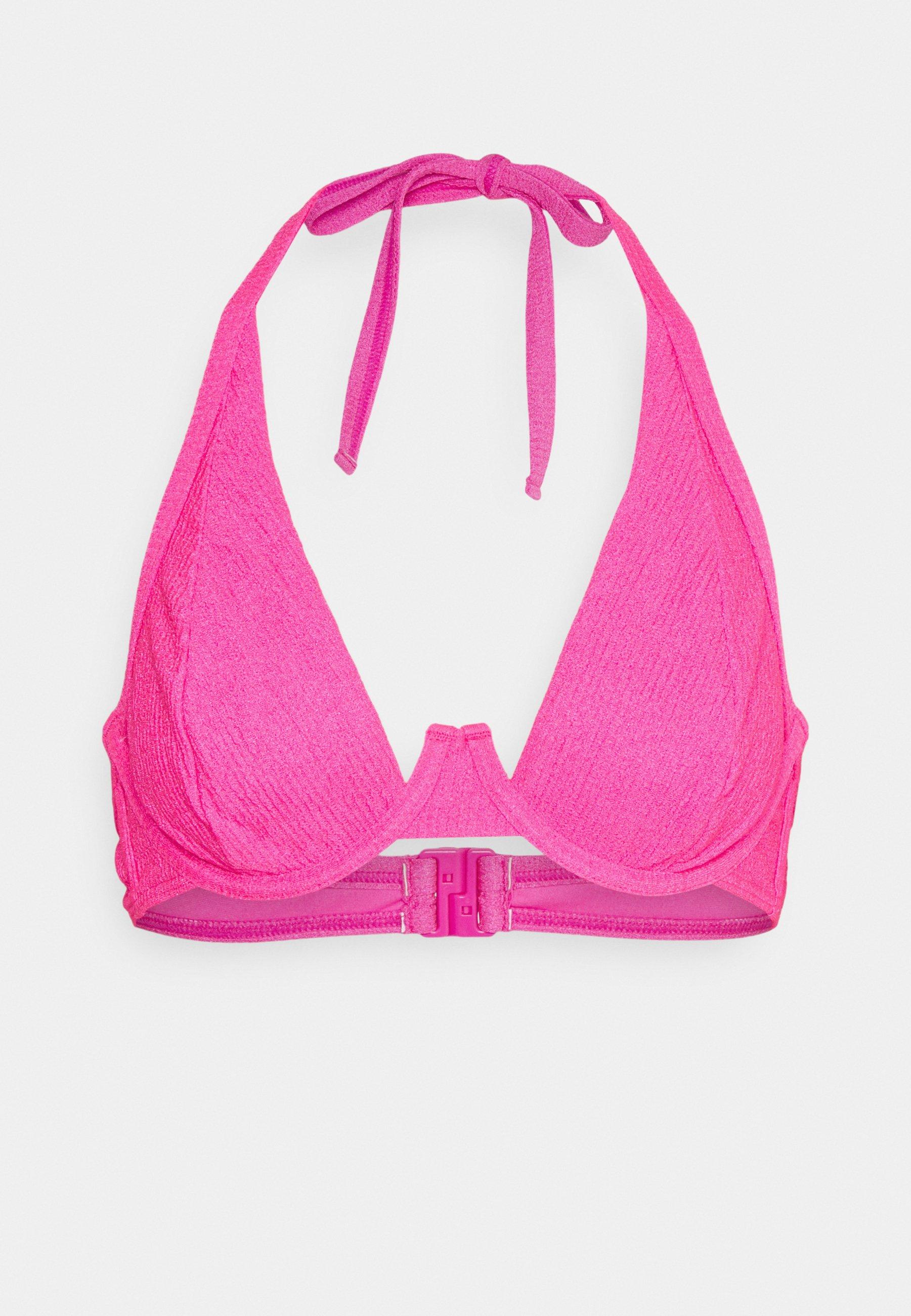 Women TEXTURED SCRUNCH FABRIC HIGH APEX - Bikini top