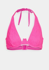 Wolf & Whistle - TEXTURED SCRUNCH FABRIC HIGH APEX - Bikini top - pink - 0