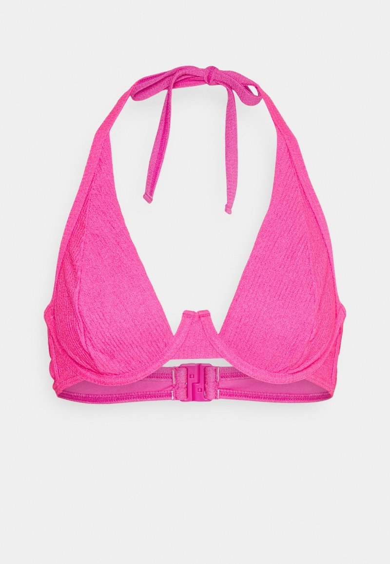 Wolf & Whistle - TEXTURED SCRUNCH FABRIC HIGH APEX - Bikini top - pink