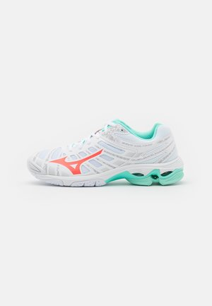 WAVE VOLTAGE - Volleyball shoes - white/fiery coral/ice green