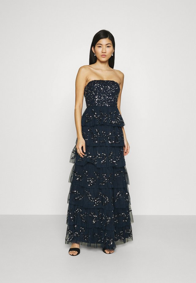 EMBELLISHED STRAPLESS TIERED MAXI DRESS - Abito da sera - navy