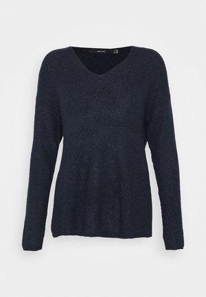 VMCREWLEFILE V NECK - Jumper - navy blazer melange