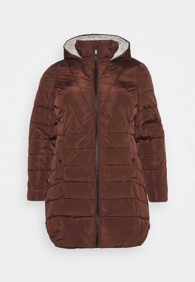 WATER RESISTANT HOODED LONGLINE PADDED COAT WITH SIDE ZIPS - Short coat - chocolate
