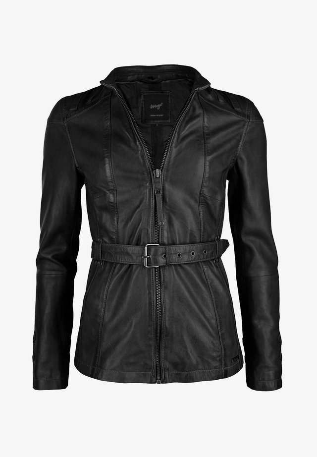 MIT HÜFTGÜRTEL EARTH - Leather jacket - black