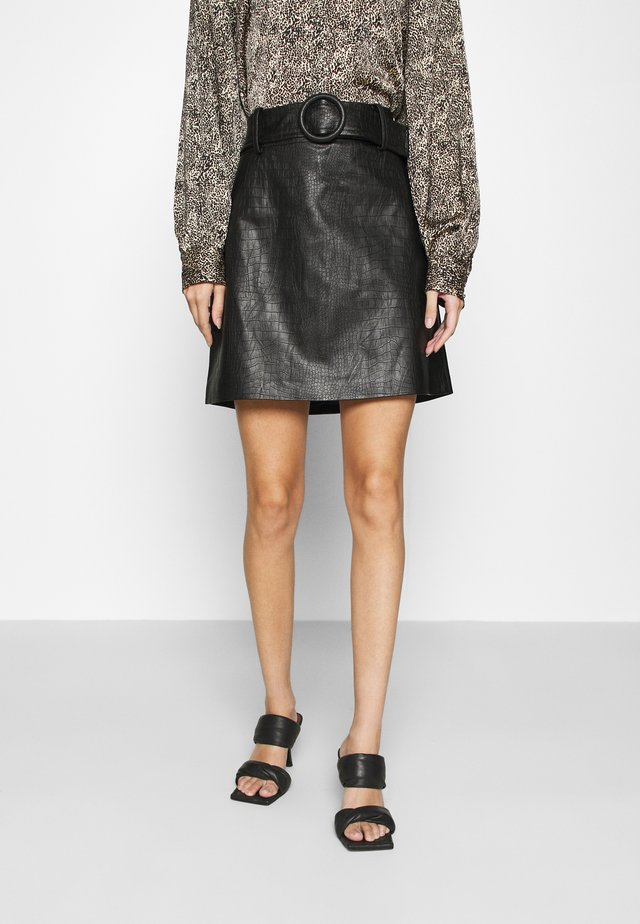 HALLIE EMBOSSED MINI SKIRT - Miniskjørt - black