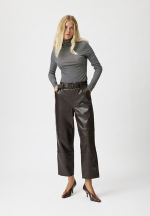 Leather trousers - coffee bean