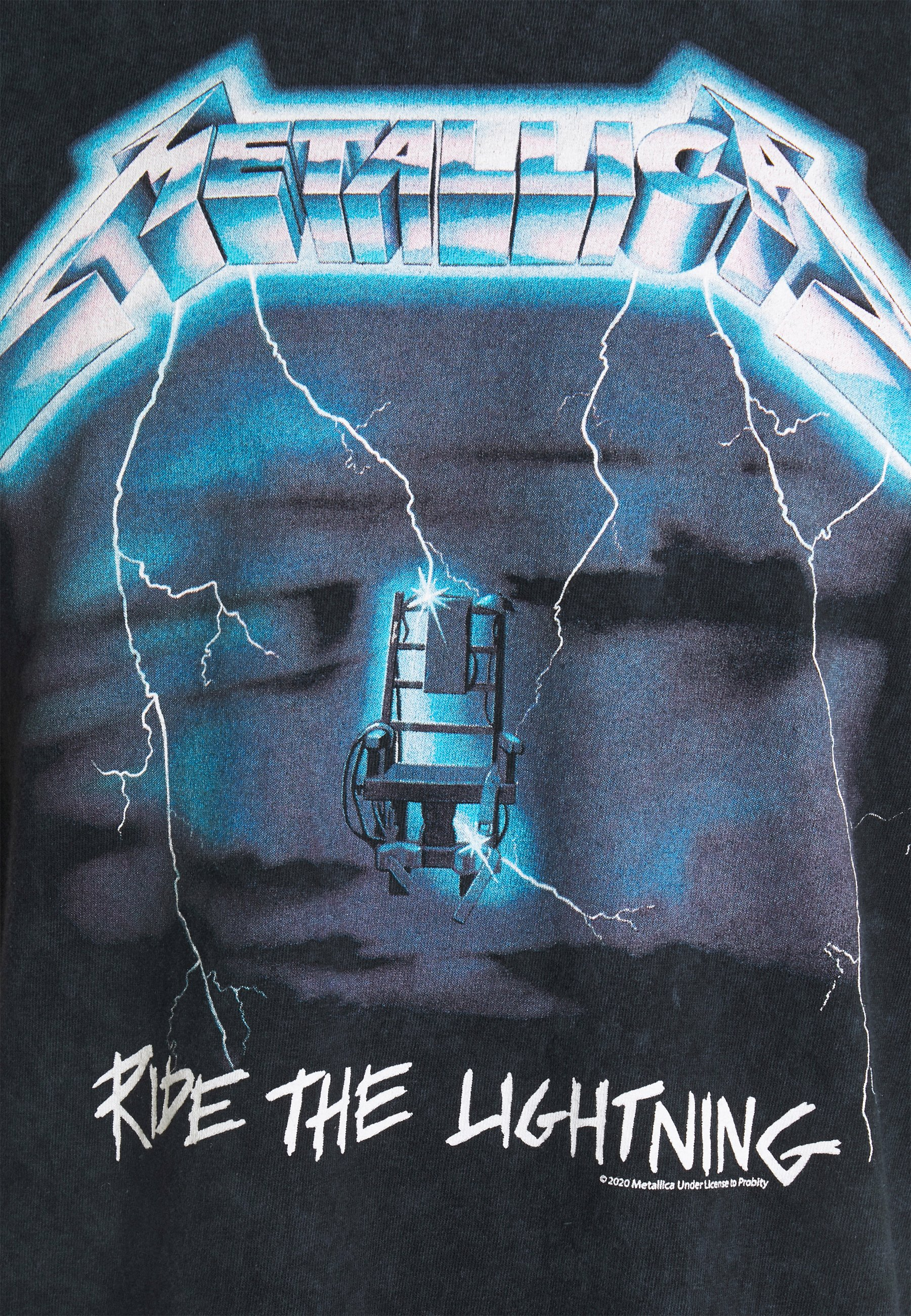 Mennace Metallica Ride The Lightning - T-shirts Med Print Washed Black/svart