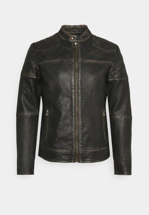 BRENTWOOD BIKER - Leather jacket - black
