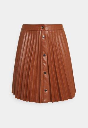 VIAMINA SHORT BUTTON COATED SKIRT - Plisovaná sukně - tortiose shell