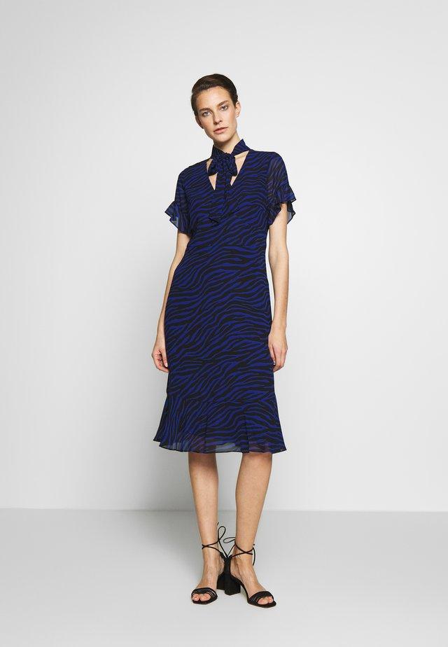 MIX TIE DRESS - Day dress - black/twilight blue