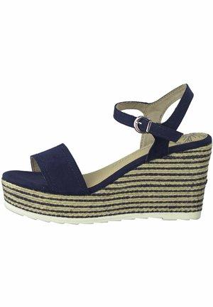 High heeled sandals - navy comb
