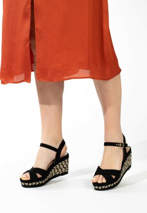 CHELSEY - Wedge sandals - black