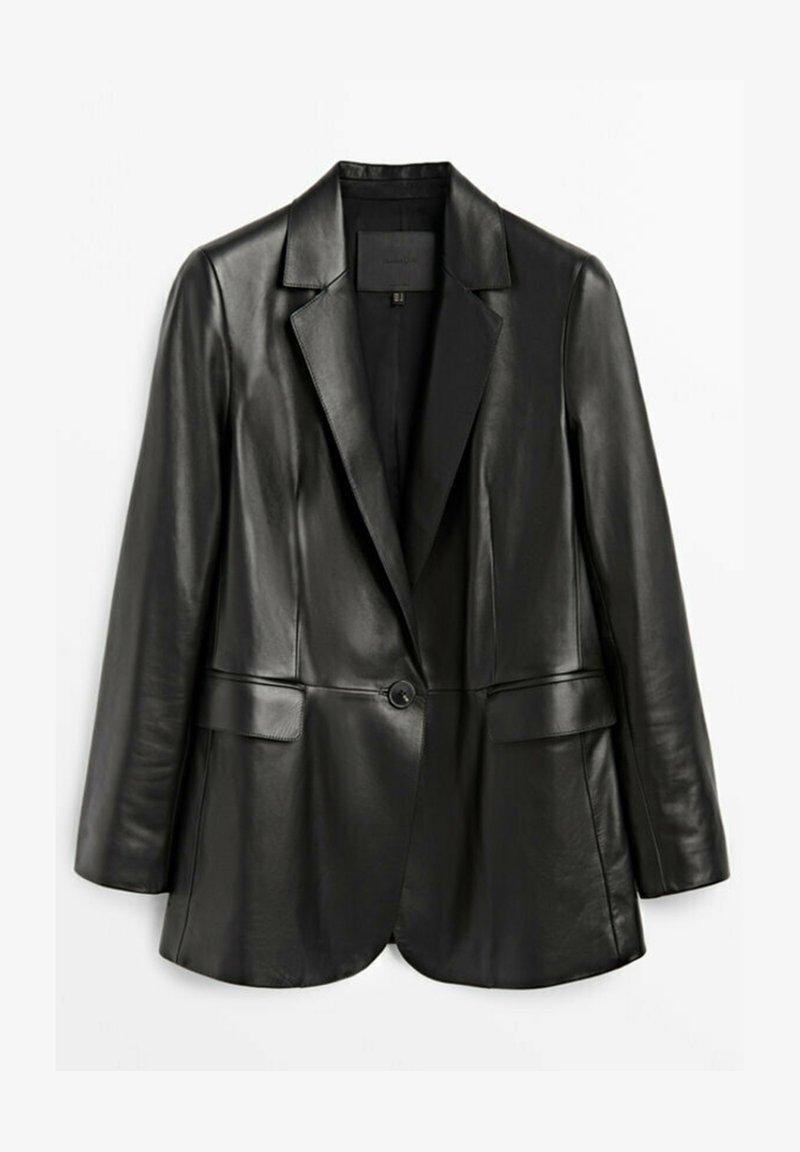 Massimo Dutti - Leather jacket - black
