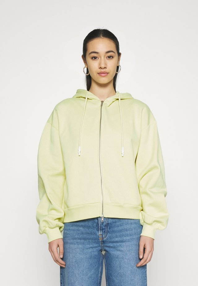 BALLOON SLEEVE ZIP UP HOODIE - Mikina na zip - yellow