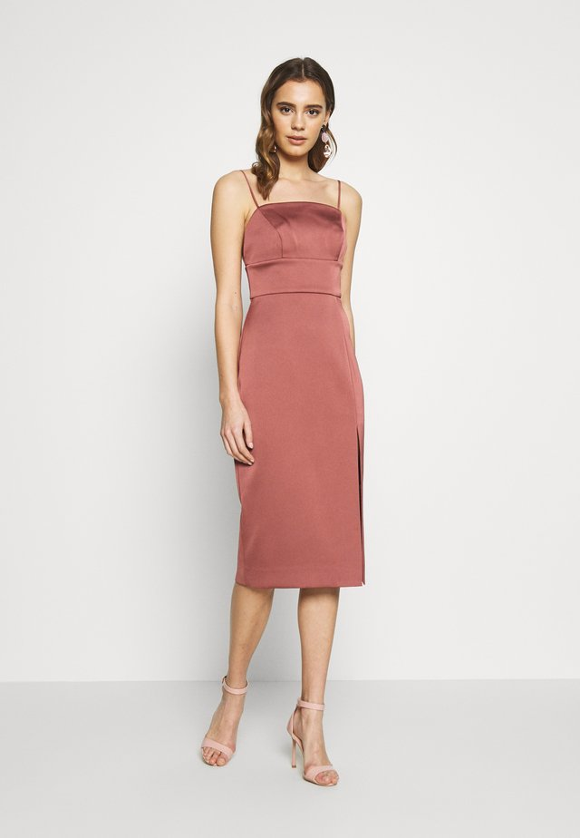 BONDED MIDI - Cocktailjurk - deep rose