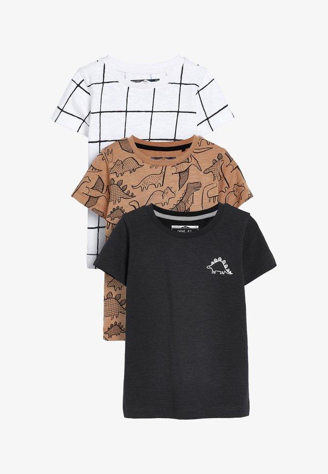 3 PACK - T-shirt med print - beige
