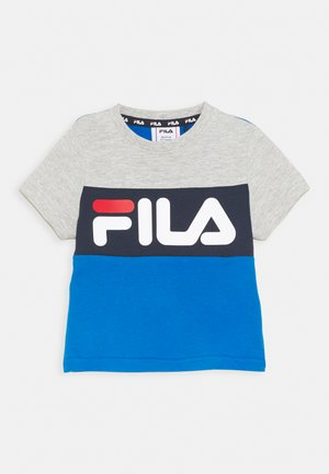 THEA BLOCKED UNISEX - T-shirt imprimé - skydiver/light grey melange/black iris