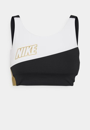 LOGO BRA PAD - Medium support sports bra - white/black/metallic gold