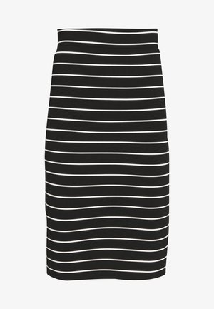 STRIPE MIDI SKIRT - Pencil skirt - black/white