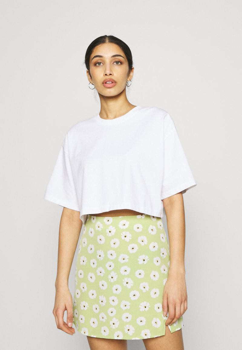 Gina Tricot - CLAIRE CROPPED TEE - T-paita - white