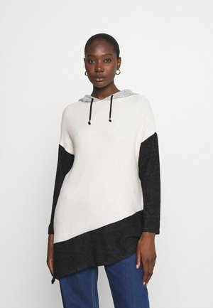 COLOUR BLOCK ASYMMETRIC HOODY - Strikkegenser - grey