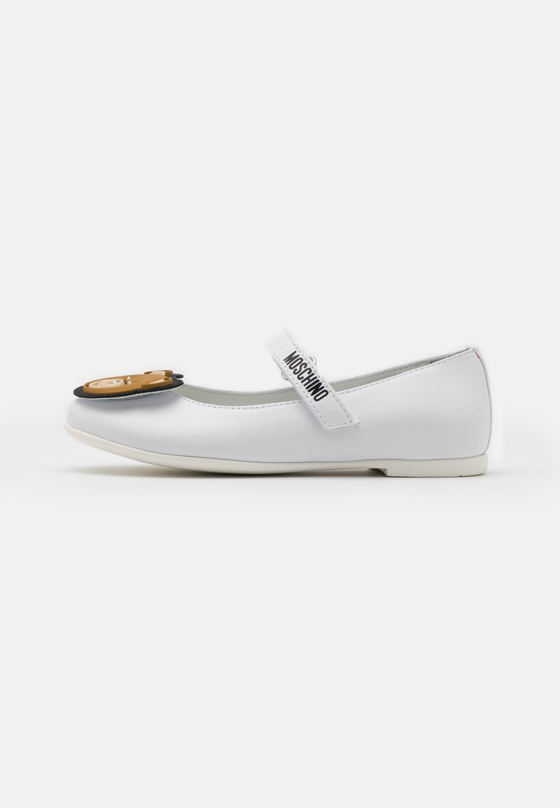 MOSCHINO - Ankle strap ballet pumps - white