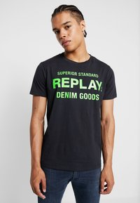 Replay - T-shirt med print - blue grey - 0