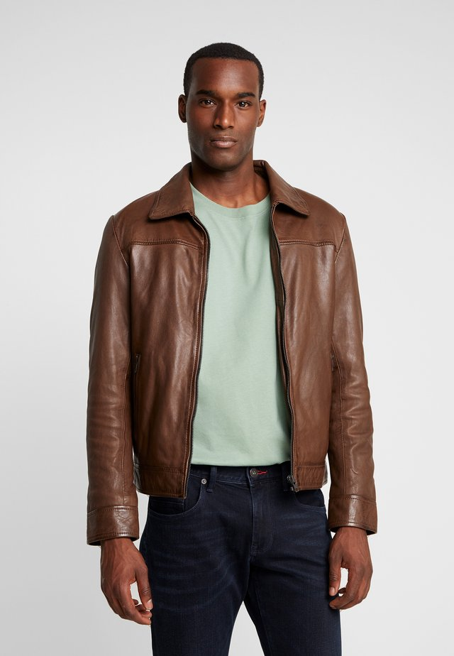 NEW WALKER - Leather jacket - mocca