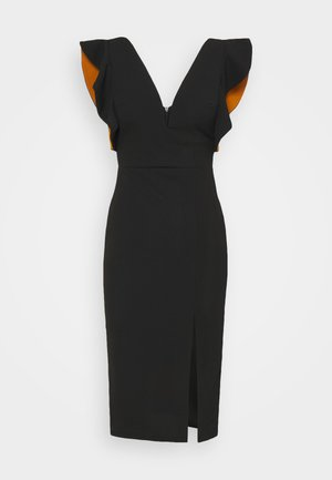 V NECK RUFFLE SLEEVE MIDI DRESS - Cocktailjurk - black/rust