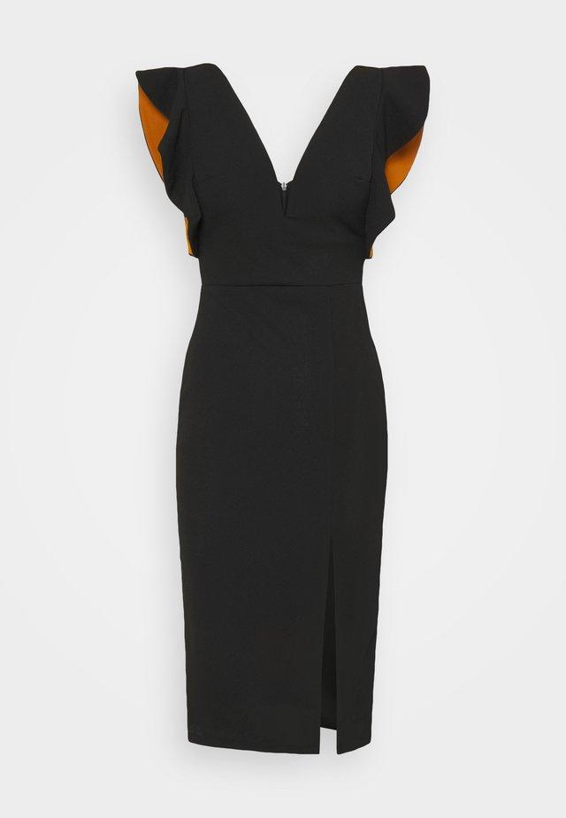 V NECK RUFFLE SLEEVE MIDI DRESS - Cocktail dress / Party dress - black/rust