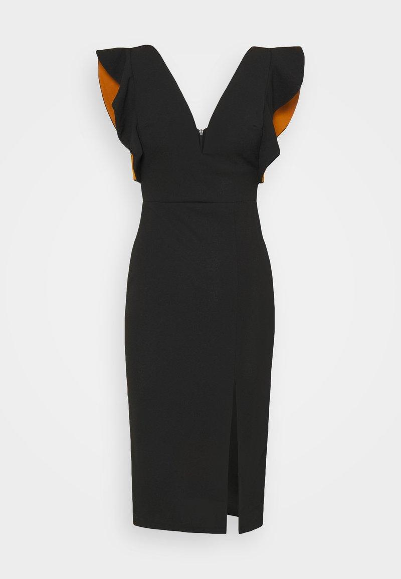 WAL G. - V NECK RUFFLE SLEEVE MIDI DRESS - Cocktail dress / Party dress - black/rust